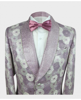 Near view of the blazer jacket with shirt and bow tie from the Robert Simon Men's Floral Embroidered Purple Wedding Groom Blazer