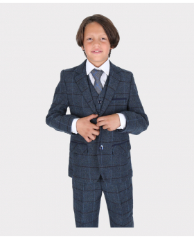 Boys Blue Tailored Fit Tweed Check Formal 3-PC Set Suit