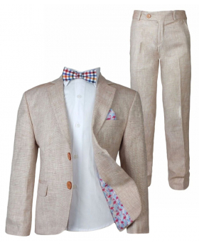 Boy Salmon Linen Casual Suit Sets