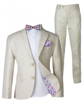 Boys Cream Beige Linen Suit