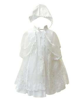 Baby Girls Designer Ivory Christening Gown & Bonnet Embroidered Baptism Dress