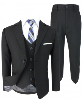 Designer Boys Textured Black Slim Fit Suit Set