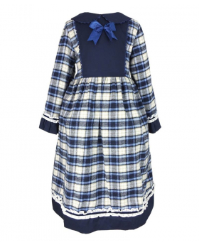 Front view of the tartan dress for girls of the Beau Kid Baby Girls Blue Tartan Cotton Dress