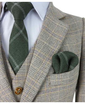 Paul Andrew Men's & Boys  Check Tweed Retro Suit in Beige Brown