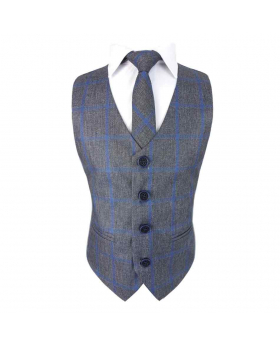 Boys Slim Check Tweed Tie and Hanky - Grey and Blue view of the tie with shirt and waistcoat