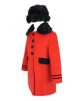 Side view of the Designer Girls Coat and Hat Set in Red