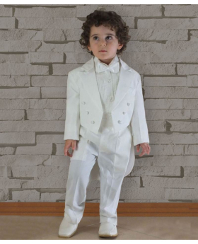 Beau KiD Baby and Boys 5 Piece Ivory Tuxedo Tail Suit