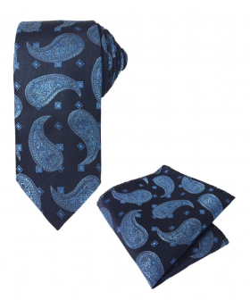 Boy's & Men's Paisley Formal Tie and Hanky Set in Navy and Blue