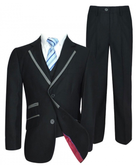 Joe Cooper Boys 5 Piece Black Suit With Silver Piping
