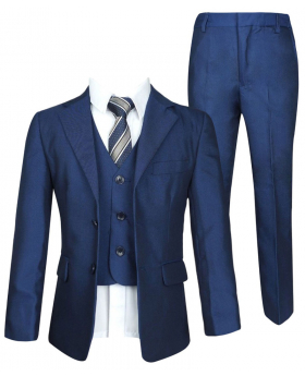 Italian 5 PC Blue Boys Suit, All in one Page Boy Wedding Prom Communion Suit by Milano