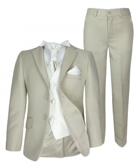 5 Piece Boys Formal Beige & Ivory Pageboy Suit Wedding Christening Prom