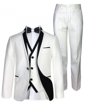 SIRRI Exclusive White & Black Single Button Boys Suit