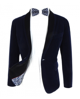 Open view of the blazer jacket with shirt and bow tie from the Boys Navy Blue Velvet Blazer with a Black Contrast Shawl Lapel Blazer