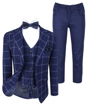 Boys Modern fit Check6 PC suit set in Navy Blue front picture