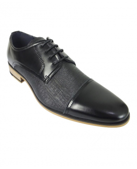 Cavani Men's Black Textured Handmade Dress Shoes