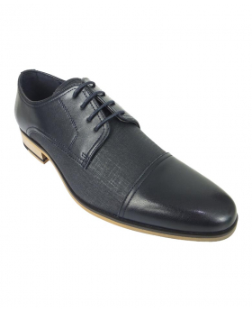 Men's Navy Derby Textured Dress Shoes