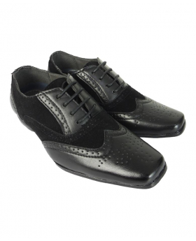 Robert Simon Boys Black Suede & Patent Lace Up Brogue Shoes