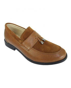 Right shoe view from the Flamingo Boys Faux Leather & Suede Loafers in Tan Brown