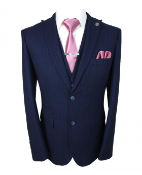 Paul Andrew Mens Fine Stripe Tailored Fit Navy Blue Suit