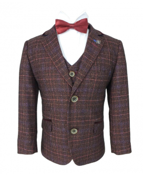 Cavani Mens & Boys Retro Wine Check Tweed Suit