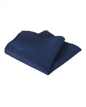 Mens & Boys Check Tweed Pocket Handkerchief in Navy Blue