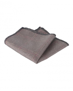 Mens & Boys Check Tweed Pocket Handkerchief in Light Brown
