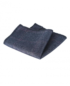 Mens & Boys Check Tweed Pocket Handkerchief in Charcoal Grey