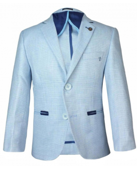 Boys Summer Linen Blazer Jacket in Ice Blue Front picture