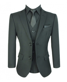 Boys All Black Wedding Suit Sets
