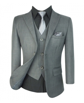 View of the Boys Suit All in One Formal Grey 6 piece Suit Set