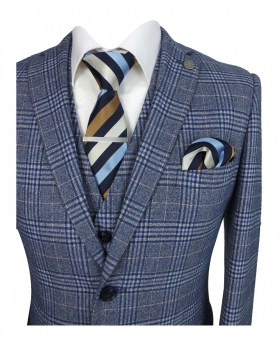 Paul Andrew Victor Mens Tailored Fit Blue Check Suit