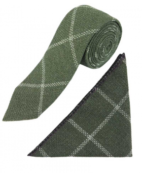 View of the tie and hanky of the Boys Slim Check Tweed Tie and Hanky - Sage Green