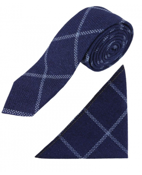 View of the tie and hanky from the Boys Slim Check Tweed Tie and Hanky - Navy Blue