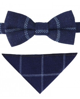 Boys Check Tweed Bow Tie and Pocket Square in Navy Blue