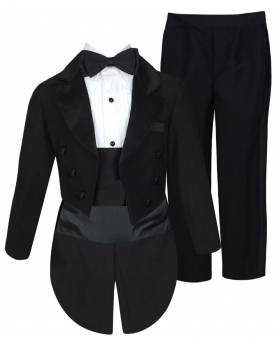 Beau KiD Baby and Boys 5 Piece Black Tuxedo Tail Suit