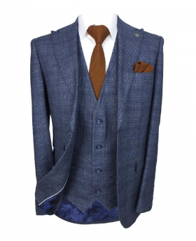 Paul Andrew Graham Father and Son Tailored Blue Check Tweed Suit