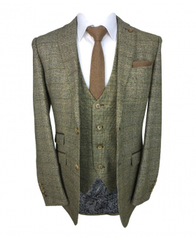 Mens Slim Fit  Tweed Check Blazer and waistcoat with accessories  in Tan Brown front picture