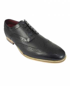 View from the left shoe of the Mens Signature Lace up Black Leather Brogues
