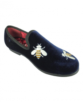 Romano Boys Velvet Slip On Navy Loafers with Embroidered bees
