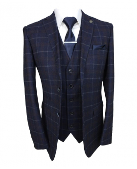 Paul Andrew Mens Tailored Fit Navy Blue Maroon Check Suit