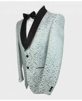Side view of the blazer jacket from the Mens Embroidered Ivory & Teal Wedding Groom Blazer
