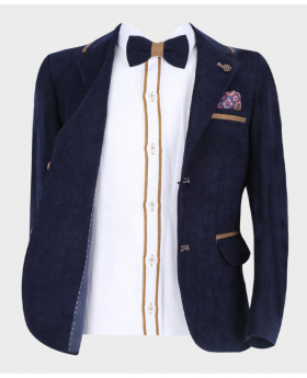 Navy Blue Tailored Fit Casual Blazer, fit shirt, matching tie and pattern hankie  Open Picture