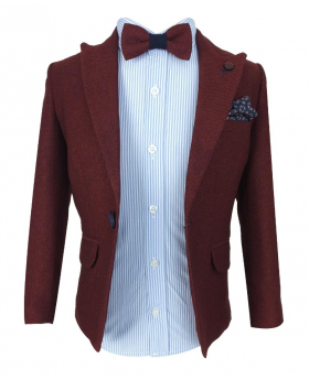 Beau Kid 5 Piece Smart Casual Tweed Suit Set in Burgundy