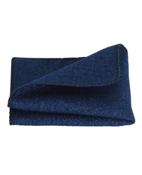 Mens & Boys Herringbone Tweed Pocket Handkerchief in Navy Blue Front open picture