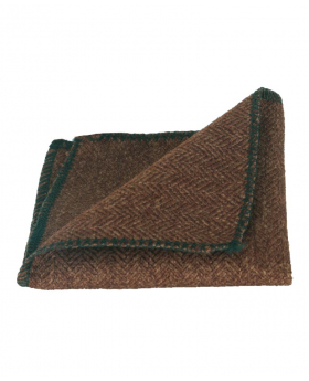 Folded view of the Mens & Boys Herringbone Tweed Hanky in Cinnamon Brown