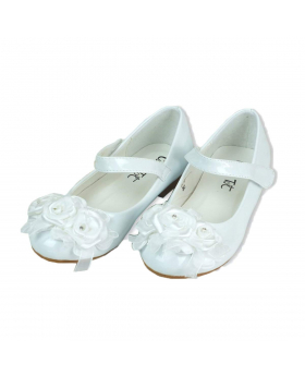 Side view of the Flower Girls White Formal Patent Shoes