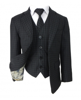 Designer Boys Black Check All in One Suit