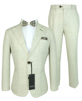 Boys Communion Linen Formal Suit in Tan Beige