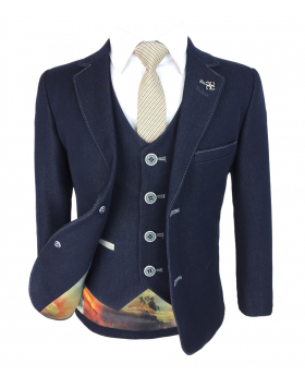 Designer Men & Boys Matching Denim Look Stretch Slim Fit Navy Blue Suit