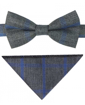 View of the bow tie and hanky of the Boys Grey and Blue Check Tweed Bow Tie and Pocket Square